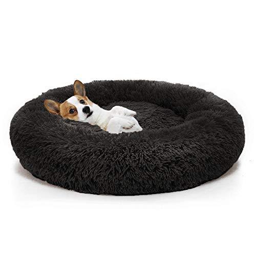 GSELL-HF Extra Suave Lavable Cómodo Sofá Cama para Mascotas, Camas para Perros, Redondo Impermeable Felpa Donut Gatos Cojines Cama Nido, Negro, 40-120Cm,70cm