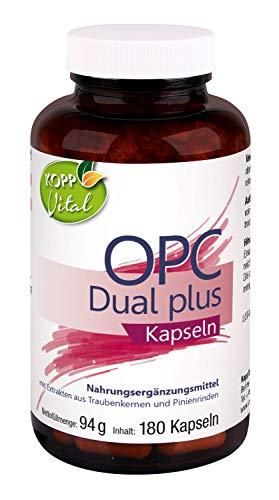 Kopp Vital OPC Dual Plus | 94 g | 180 Kapseln | Vegan | aus Traubenkern-Extrakt und Pinienrinden-Extrakt