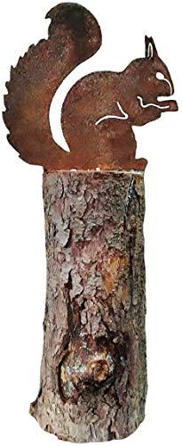 GK Eichhörnchen sitzend | Baumstecker Dekoration 21cm | Metall Rost Gartenstecker | Gartendekoration