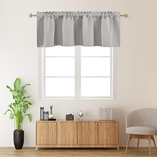 Light Gray Valances for Kitchen 1 Panel Darkening Solid Blackout Grey Valance Curtains for Loft and Nursery Window with Rod Pocket 18 Inch Length for Girls Boys Bedroom Small Window 42 X 18 Inches