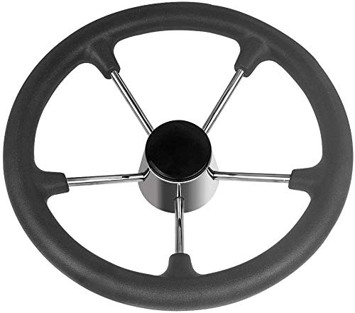 ISURE MARINE 13-1/2 Inch 5-Spoke Destroyer Style Stainless Boat Black PU Foam Steering Wheel with Cap for Boat, Yacht