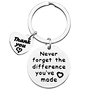 "Thank You Keychain -- ""Never Forget The Difference You've Made"" Show your gratitude to your boss, mentor or someone that you feel very grateful. Best gift for someone who is inspire you in your daily life. Appreciation Keychain -- Study treasure for ..."