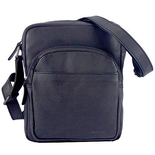 Sunsa klein Herren Leder Tasche, schwarze Ledertasche Umhängetasche/Schultertasche Crossbody bag, kleine Handtasche Herrentasche Vintage für Arbeit Reise Alltags, Geschenke für Männer