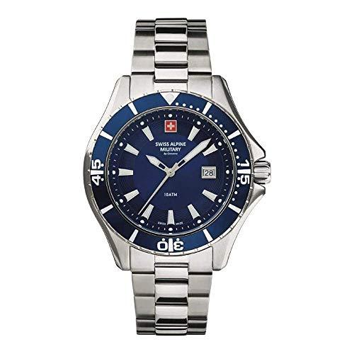 Swiss Alpine Military - Reloj de pulsera analógico para hombre (cuarzo, acero inoxidable 7040)