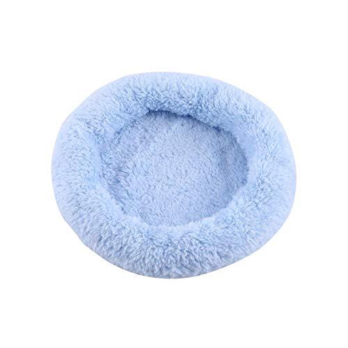 ViaGasaFamido hamstersäng, 3 färger fleece vinter varm rund hamster säng litet djur plysch kudde varmt hus halkskydd sovmatta dyna för gerbils chinchillas ekorre (blå S)