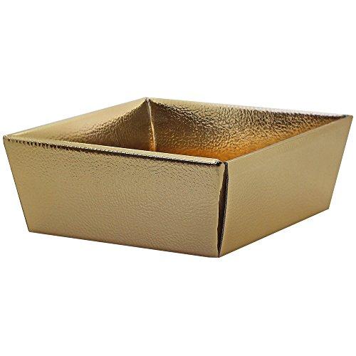 tumundo Falt-Box Geschenk-Box Verpackung Etui Aufbewahrung Basteln Schachtel Pappe Fix-Box zum Falten Stabil Glänzend Goldfarben, Modell:5 Stück