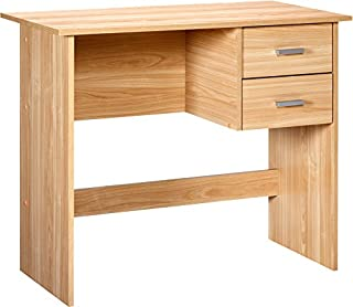 OneSpace Modern Writing Desk with 2 Side Drawers, Oak