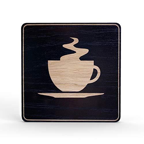 Betriebsausstattung24® Holz-Türschild Piktogramm Kaffeetasse | Hinweisschild aus Eichenfurnier | eckig 10x10 cm, schwarz | Für Ihre Tür & Wand | Inkl. Klebepad