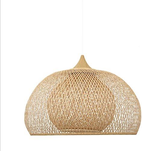 AFCTI Tejido A Mano De Bambú Mimbre Ratán Ronda Tejida Lámpara Sombra Rústico Tejido Araña Ratán Techo Accesorios De Luz Dormitorio Sala De Estar,52 * 30cm