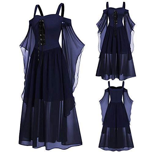 YEBIRAL Damen Übergroßes Mesh Mittelalter Kleid Gothic Maxikleid Schnürkleid mit Schmetterlingsärmeln Renaissance Cosplay Dress Party Festlich A-Linie Halloween Kostüm