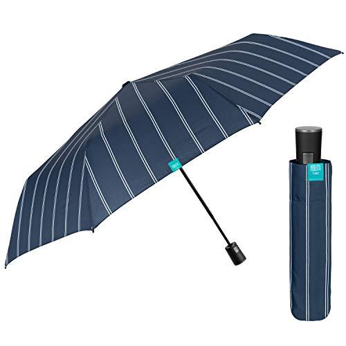 Paraguas Plegable Hombre Elegante de Raya Diplomática - Sombrilla Lluvia Resistente Antiviento...