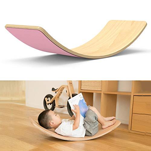 lxfy Holz Balance Board, Waldorf Kinder Board, Wobbel Balance Board, kurvige Board Kinder Balance Spielzeug, Wackeln, Spin, Rock, Rutsche