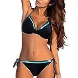 AIVEI Bikini Damen Sexy Push Up High Waist Bikini Set Verstellbar Neckholder Bikinioberteil Zweiteiliger Badeanzug Triangel Hoher Taille High Cut Strandkleidung Tankini (schwarz, M)