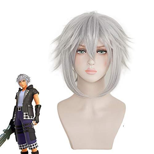 Kingdom Hearts 3 Riku Cosplay peluca de hierro gris resistente al calor pelo sinttico Perucas disfraz juego de rol pelucas Kumz3452