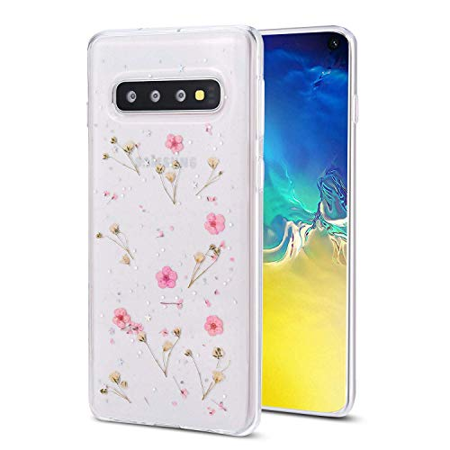 Galaxy S10 Case Flower Case, Shinymore Soft Clear Flexible Rubber Pressed Dry Real Flowers Case Girls Glitter Floral Cover for Samsung Galaxy S10 -Pink