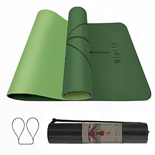 Tapis de Yoga Antidérapant, Epais, Ecologique et Non Toxique en TPE avec des repères d'alignement du Corps. Un Tapis Yoga Parfait pour Sport au Sol, Gym et Fitness, 183 x 61 x 0.6 cm Tapis-Vert foncé