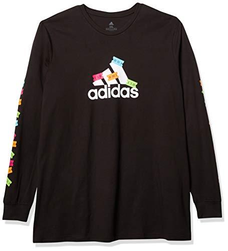 adidas Athletics Graphic Long Sleeve Camisa, Negro/Blanco, XXXL para Hombre