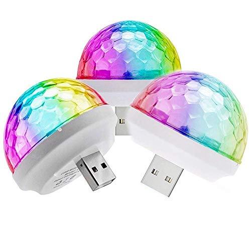Mantra Enterprises Pack of 3 USB Mini DJ Party Light Disco Bulb LED Small Magic Ball LED Home DJ Stage Colourful Strobe RGB Lamp for Decorations Home, Car etc