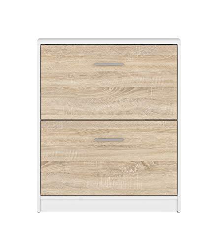 BOARDD - Zapatero para pasillo y zapatero con puerta abatible, color blanco, 70 x 84 x 27,5 cm