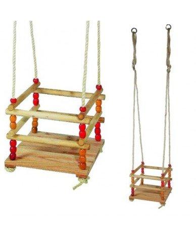 Balançoire en bois plateau et barreaux 30 x 30 cm jusqu'à 50 kg Enfant 18 mois