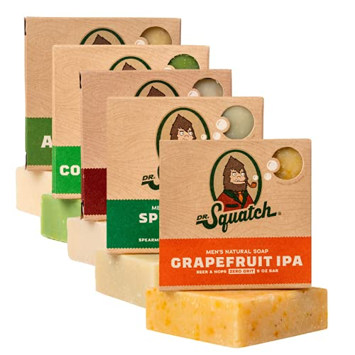 Dr. Squatch Men's Soap Variety Pack – Manly Scent Bar Soaps: Alpine Sage, Spearmint Basil, Cool Fresh Aloe, Bay Rum, Grapefruit IPA – Handmade with Organic Oils in USA (5 Bars)