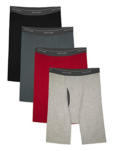 Fruit of the Loom Mens CoolZone Fly Assorted Long Leg Boxer Briefs, Extended Sizes, 4 Pack