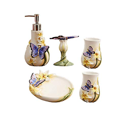 Nologo Soap Dispensers 5-Piece Ceramic Bathroom Accessories Set, Lotion Bottle Toothbrush Cup Mouthwash Cup Soap Dish Ideas Home Gift Three-dimensional Butterfly Pattern