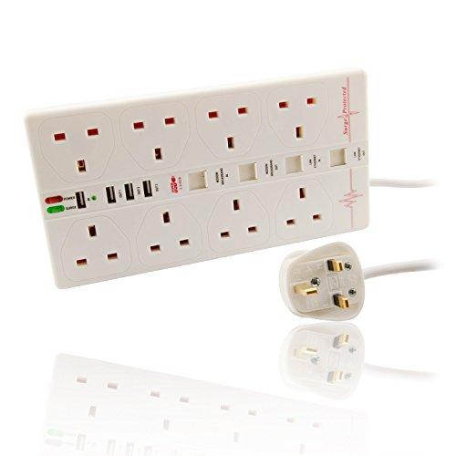 CDL Micro 8Manera 2m protegida contra sobretensiones Extension Lead Power Block Con USB y Ethernet, color blanco