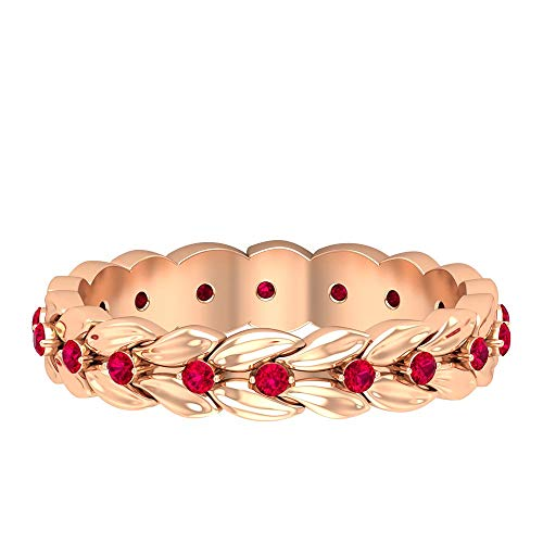 Rosec Jewels 18 quilates oro rosa redonda Red Ruby