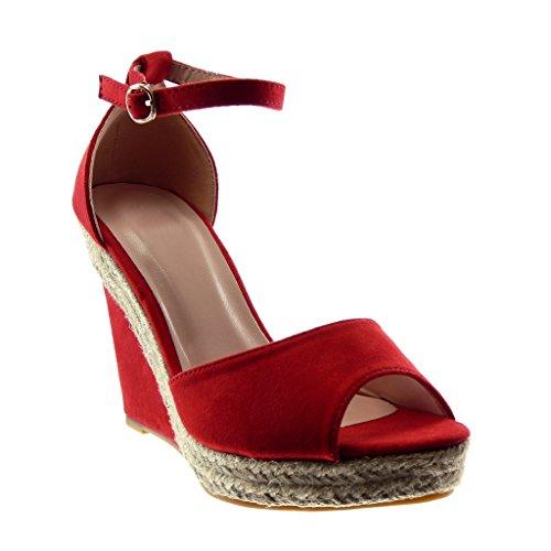 Angkorly - Zapatillas Moda Sandalias Mules Peep-Toe Correa de Tobillo Plataforma Mujer Cuerda Tanga Plataforma 11 CM - Rojo 056 T 39