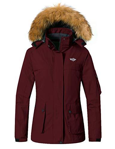 Wantdo Women's Warm Ski Coat Fleece Winter Jackets Windproof Raincoat Parka Black XL