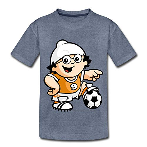 Mainzelmännchen Det Als Fußballer Kinder Premium T-Shirt, 134-140, Blau meliert