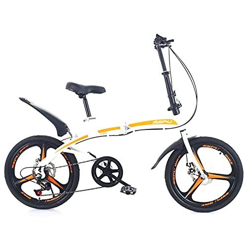 Fahrrad Mit Variabler Geschwindigkeit FüR Erwachsene, 20-Zoll-Faltrad FüR Erwachsene, Scheibenbremse, Kohlenstoffstahl, Geeignet FüR Das Fahren Im Freien (DREI Messer weiß)