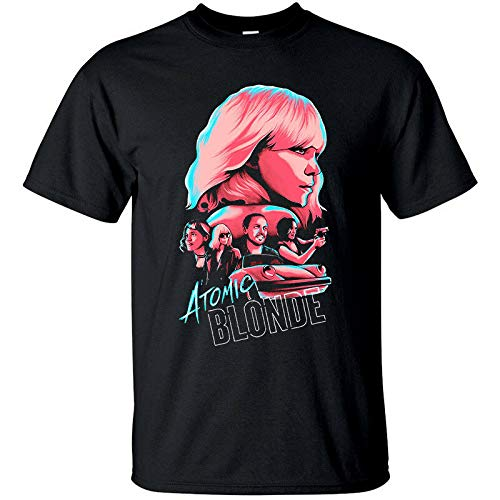 Tシャツ(BLACK)すべてがS-5XLのサイズアトミックブロンドV2、デヴィッド・リーチ、映画のポスター、,ブラック,4XL
