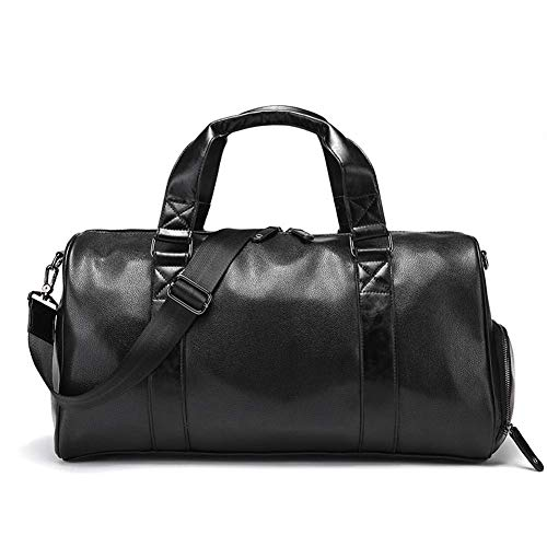 JJSFJH Leather Travel Weekender Pernocte Gimnasio Deportes Equipaje Tote Gym Bag for Hombres y Mujeres Cuero Sports Gym Bag Negro