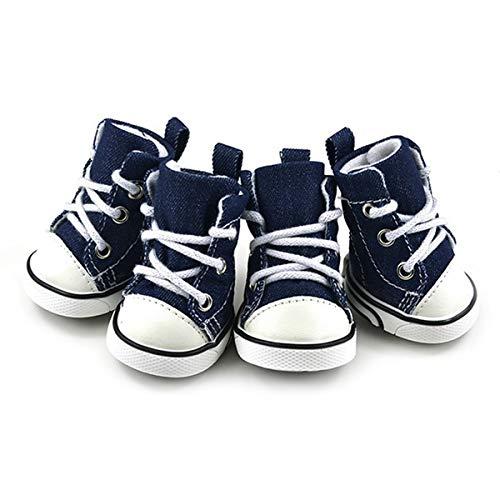 JINAN Hundesneaker für Welpen, Denim, rutschfest, Größe L, Blau, 4 Stück