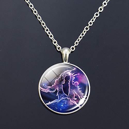 FEELHH Moda Géminis 12 Zodiac Signos de Vidrio cúpula Constelaciones Colgante Collar Horóscopo Astrología Collar joyería para Mujeres Hombres cumpleaños Regalo