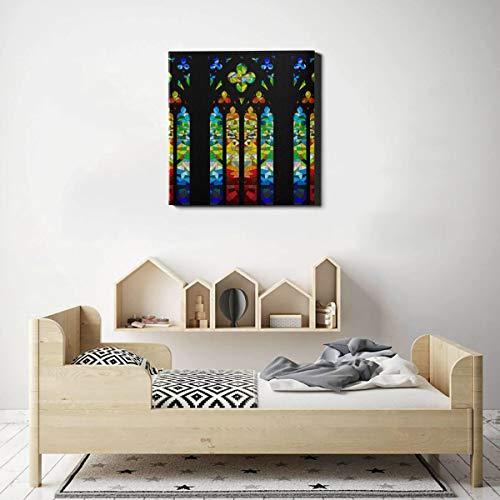 Arte de la pared del baño Lienzo Diseño de vidriera gótica Pinturas en lienzo Arte de la pared Arte de la pared Decoración 20 x 20 pulgadas (50x50 cm) Obras de arte de la pared Imágenes para la decor