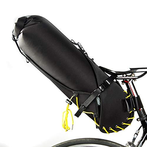 HJSW Bolsa de Sillín de Bicicleta de Montaña Impermeable, Silla de Montar Bolsa Portátil Paquete de Cuña Accesorios Bicicletas para Carretera y Otras Bicicletas Competiciones de Ciclismo, 20L, Negro