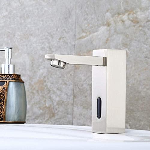WXHHH Grifo con Sensor de Lavabo de una Sola Junta de Cobre, niquelado Cepillado, Sensor de frío único, Lavado a Mano
