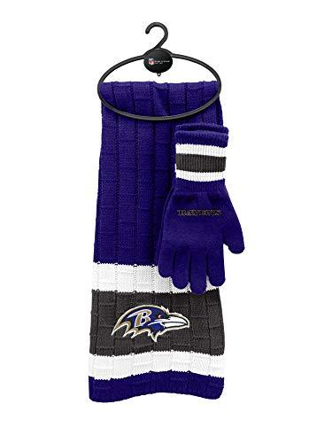 Littlearth NFL Baltimore Ravens Unisex Nflnfl Scarf & Glove Gift Set, Purple, Black, 2Piece Set