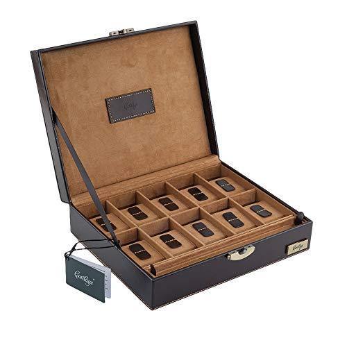 CORDAYS - Porta Orologi con 10 divisori individuali in Pelle Europea di Massima qualità. Colore Marrone. CDM-80002B