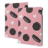 ZSMJ Coque pour iPad 1/2' Motif biscuits noirs avec cœur blanc
