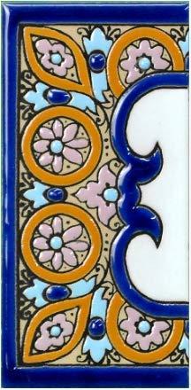 TORO DEL ORO Números casa. Numeros y Letras en azulejo. Ceramica esmaltada, Pintados a Mano técnica Cuerda Seca. Nombres y direcciones. Diseño Arco Azul 5,5x10,5 cms (Cenefa 'Margen ancho')