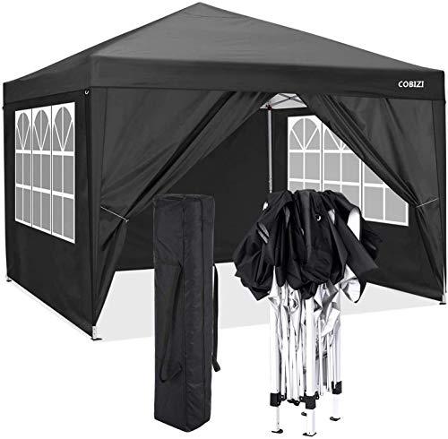 COBIZI Pavillon 3 x 3 WASSERDICHT, Pavillon inkl. Tasche wasserabweisend höhenverstellbar faltbar Pop-up Gartenzelt Partyzelt (3 x 3 m + 4 Seitenteilen + Tasche, Schwarz)