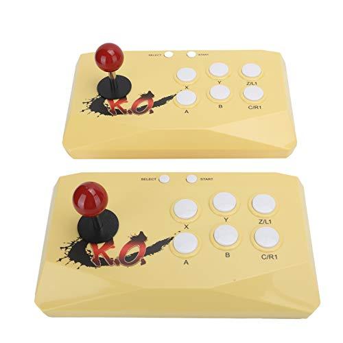 Joystick De Lucha Arcade, Joystick De Lucha Inalámbrico Dual Gamepad Home Arcade Gaming Fight Stick Controlador Hdmi TV Consola De Juegos para Amantes De Los Juegos(Amarillo)