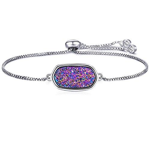 WISHMISS Women Silver Pendant Necklace in Multicolor Drusy (Purple Drusy Bracelet)