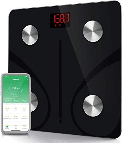 YLOVOW Básculas Inteligentes para La Grasa Corporal, Báscula Bluetooth De Alta Precisión con Aplicación para Teléfonos Inteligentes, Báscula Digital para Pesas Analizador De Composición Corporal