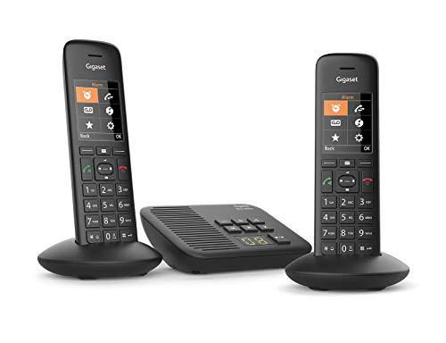 Gigaset C570A Duo - Teléfono (Teléfono DECT, Terminal con conexión por Cable, Altavoz, 200 entradas, Identificador de Llamadas,con Contestador, Negro)