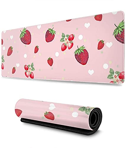 Heart Strawberry Mice Red Strawberry Gaming Mouse Pad XL,Extended Large Mouse Mat Desk Pad, Stitched Edges Mousepad,Long Non-Slip Rubber Base Mice Pad,31.5X11.8 Inch